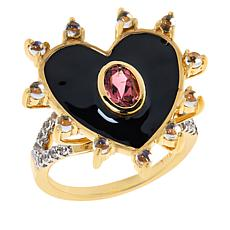 Rarities Gold-Plated Pink Tourmaline and Gemstone Heart Ring