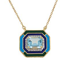 Rarities Gold-Plated Sky Blue Topaz, Zircon and Enamel Necklace
