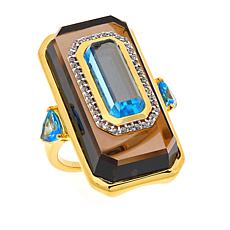 Rarities Gold-Plated Smoky Quartz and Multi-Gemstone Ring