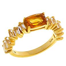 Rarities Gold-Plated Sterling Silver Gem & White Topaz Baguette Ring