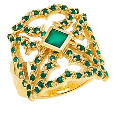 Rarities Gold-Plated Sterling Silver Gemstone Tattoo Ring