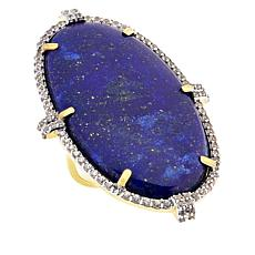 Rarities Gold-Plated Sterling Silver Lapis and White Zircon Oval Ring