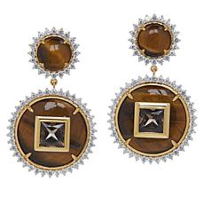 Rarities Gold-Plated Tiger's Eye, Smoky Quartz and Gem Drop Earrings