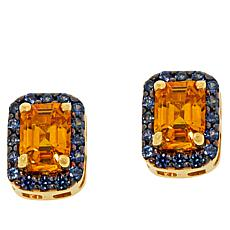 Rarities Gold-Plated Yellow and Blue Sapphire  Stud Earrings