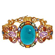 Rarities Goldtone Oval Turquoise and Multi-Gemstone Bracelet