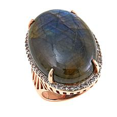 Rarities Gray Labradorite and White Zircon Vermeil Ring