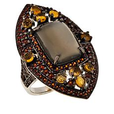 Rarities Gray Moonstone, Garnet and Citrine Ring