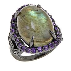 Rarities Labradorite, Amethyst and White Zircon Oval Ring