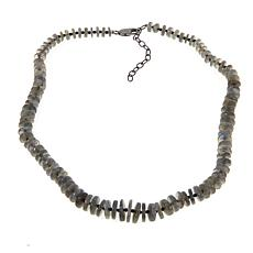 "Rarities Labradorite and Black Spinel 16"" Disc Necklace"