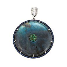 Rarities Labradorite and Gem Disc-Shaped Enhancer Pendant