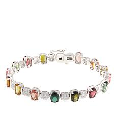 "Rarities Multicolored Tourmaline and White Zircon 7-1/4"" Line Bracelet"