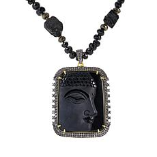 Rarities Obsidian and Multi-Gem Buddha Pendant with Necklace