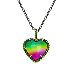 "Rarities Quartz Doublet & Chrome Diopside Heart Pendant with 20"" Chain"