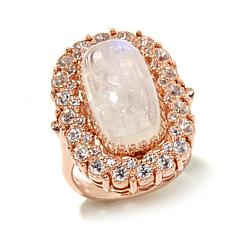 Rarities Rainbow Moonstone and Zircon Rose Vermeil Ring
