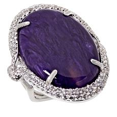 Rarities Rhodium-Plated Charoite and White Zircon Oval Ring