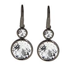 Rarities Rhodium-Plated Round Gem Drop Earrings