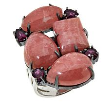 Rarities Rhodium-Plated Sterling Silver Rhodochrosite & Rhodolite Ring