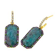 Rarities Rock Quartz/Apatite Doublet and Gem Octagonal Drop Earrings