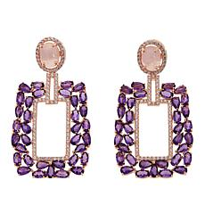 Rarities Rose Quartz and Gem Rectangular Drop Earrings