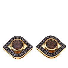 Rarities Smoky Quartz and Diamond Evil Eye Studs