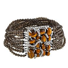 Rarities Smoky Quartz, Tiger's Eye & White Zircon Multistrand Bracelet