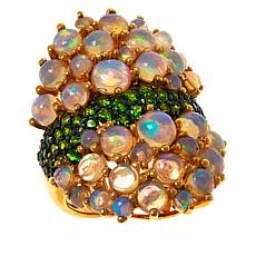 Rarities Sterling Silver Gold-Plated Chrome Diopside and Opal Ring