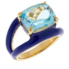 Rarities Sterling Silver Gold-Plated Colored Enamel and Gemstone Ring