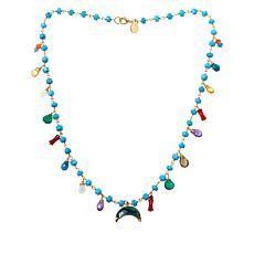 Rarities Sterling Silver Gold-Plated Multi-Gemstone Dangle Necklace
