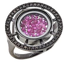 Rarities Sterling Silver Ruby Shaker and Champagne Diamond Ring