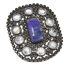 Rarities Tanzanite and Gem Oval Black Rhodium Sterling Silver Ring