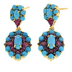 Rarities Turquoise and Ruby Gold-Plated Drop Earrings
