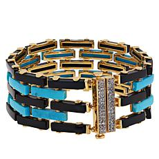 Rarities Turquoise, Onyx and White Zircon Wide Tennis Bracelet