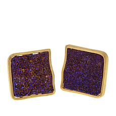 Rasa Living Drusy Quartz Freeform Stud Earrings