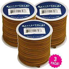 "Realeather Crafts Deerskin Lace Spool 3-pack - Saddle Tan, .125"" x ..."