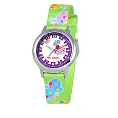 Red Balloon Kid's Time-Teacher Watch with Rotating Bezel - Green