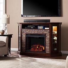 Redden Corner Media Fireplace - Espresso/Faux Stone