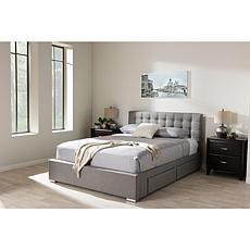 Rene Fabric Upholstered 4-Drawer King Size Storage Platform Bed