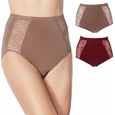 Rhonda Shear 2-pack Seamless Brief Panty with Lace Inset