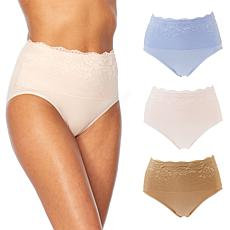 Rhonda Shear 3-pack Ahh Panty with Lace Overlay