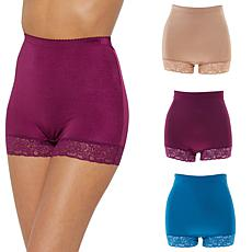 Rhonda Shear 3-pack Smooth Pin Up Panty with Lace Trim