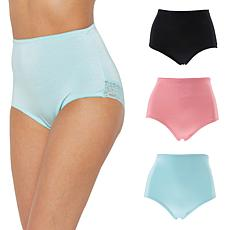 Rhonda Shear 3-pack Smooth Pinup Brief with Lace Trim - Colors