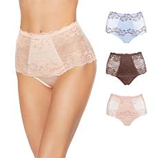 Rhonda Shear Lace Overlay Pin-Up Brief 3-pack