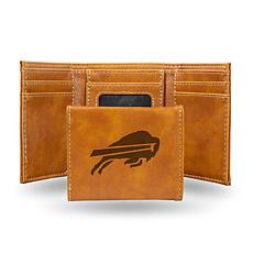 Rico  Bills Laser-Engraved Brown Trifold Wallet