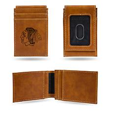 Rico Blackhawks Laser-Engraved Brown Front Pocket Wallet