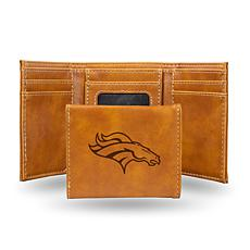 Rico Broncos Laser-Engraved Brown Trifold Wallet