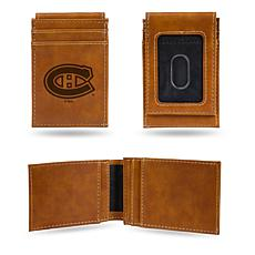 Rico Canadiens Laser-Engraved Brown Front Pocket Wallet