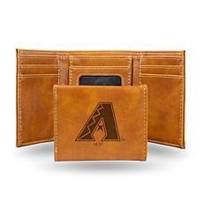 Rico Diamondbacks Laser-Engraved Brown Trifold Wallet