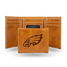 Rico Eagles Laser-Engraved Brown Trifold Wallet