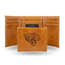 Rico Jaguars Laser-Engraved Brown Trifold Wallet