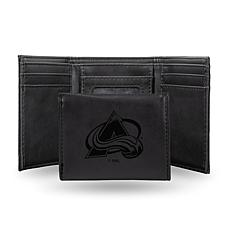 Rico Laser-Engraved Black Tri-fold Wallet - Avalanche